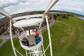 Riding Poole's Big Wheel