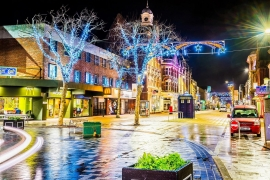Santa Claus, Christmas Parade and Continental Christmas Market in Boscombe