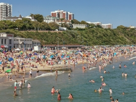 Bournemouth beach similarly busy in May 2020.